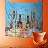 AuraiseHome Popular art tapestry building city under construction website with tower cranes constructions infographics template Room bedroom living room dormitory decoration32W x 32L Inch