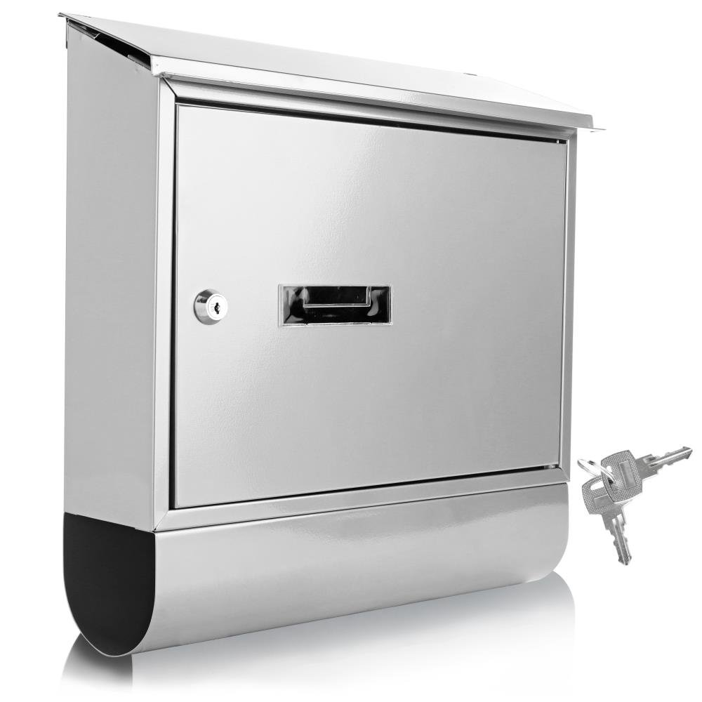 Serenelife Modern Wall Mount Lockable Mailbox - Outdoor Galvanized Metal Key Large Capacity - Commercial Rural Home Decorative & Office Business Parcel Box Packages Drop Slot Secure Lock SLMAB06 White