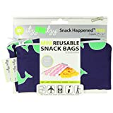 Itzy Ritzy Snack Happens Mini Reusable Snack Bag, Whale Watching Blue, 2-Count
