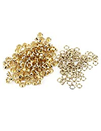Akozon 100pcs 5mm Hole Metal Eyelets Grommet for Leather Craft Card Decoration (Gold)
