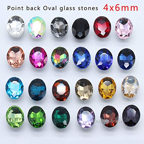 Pukido 20p 13x18mm Oval Color Pointed Foiled Back Faceted Crystal Rhinestones Jewels Shoes,Bag,Clothes,Hairclip Craft Glass Fancy Stone - (Color: Randomly Mix Colors)