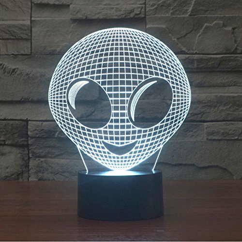 Comics+3D+Night+Lamp+ Products : Alien Shape 3D Led Night Light Acrylic Desk Lamp Touch Switch 7-Color Xmas Gift