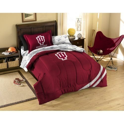 NCAA/NFL Twin Size Applique 5 pc Comforter Set-Many different Teams! (Indiana Hoosiers, Twin (Indiana Hoosiers Bed Set)