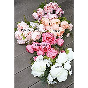Sweet Home Deco 18'' Super Soft Blooming Peony Silk Artificial Wedding Bouquet Home Flowers 105