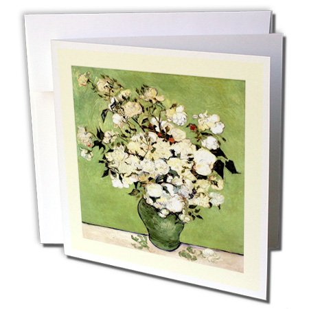 3dRose Green n Ivory Framed Van Goghs Vase Of Roses Painting - Greeting Cards, 6 x 6 inches, set of 6 (gc_47910_1)
