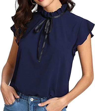 Gasa T-Shirt para Mujer Verano Suelto Camisa Tops Plisado Cuello Parado con Cordones Blusa Volante Fruncido Manga del Casquillo Camiseta Color Sólido Elegante Pullover - Amarillo, Jujube, Azul Real: Amazon.es: Ropa y