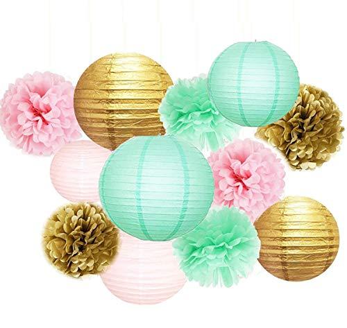 Baby Shower Decorations Furuix 12pcs Mint Pink Gold Party Decoration Tissue Paper Pom Poms for Birthday Party Decoratios Bridal Shower Decorations
