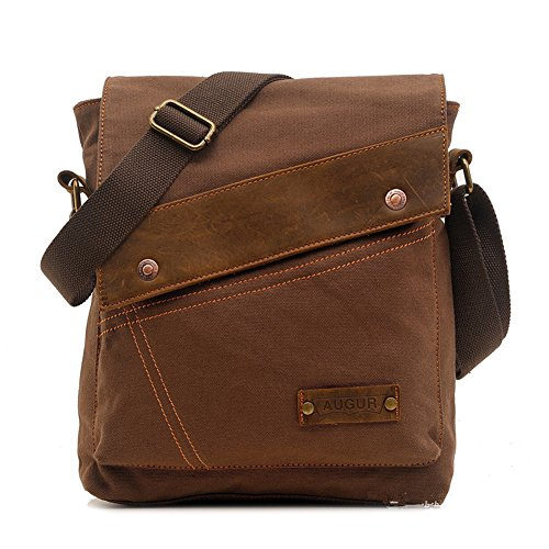 messenger bags for men Cotton Canvas Leather Shoulder Bag Crossbody Bag Satchel Bag Book bag Laptop Bag Working Bag Brown (Bag Satchel)