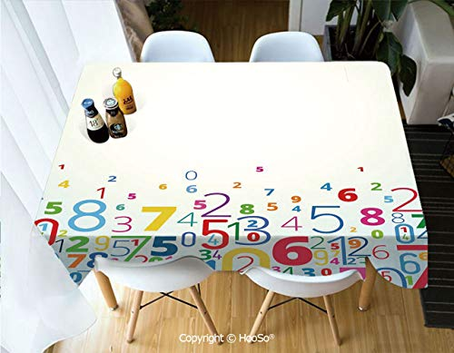 HooSo Premium Polyester Table Cover, Machine Washable, Durable Table Cloths for Wedding Reception Restaurant Banquet Party,Mathematics Classroom Decor,Rainbow Colored Digits,53