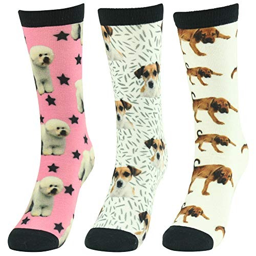 Novelty Print Socks,J'colour Mens Womens Art Animal Funny Patterned Fashion Funky Design Colorful Bright Casual Dress Gift Socks 3 Pairs]()