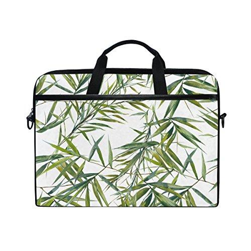 jstel Watercolor Bambus Blatt Laptop Schulter Messenger Tasche Fall Sleeve für 35,6cm zu 39,6cm mit verstellbarer Notebook Schultergurt