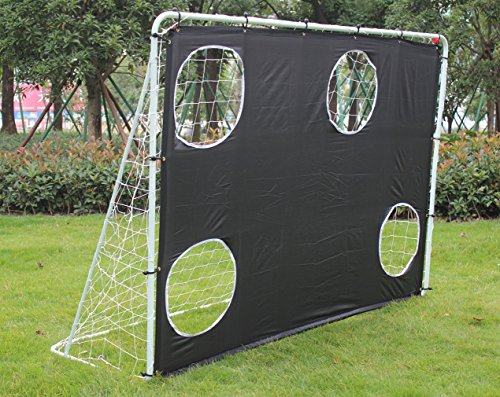 KLB Sport 7' x 5' Steel 3 in 1 Soccer Goal Targets with Rebounder Training Net and Carry Bag (Black)