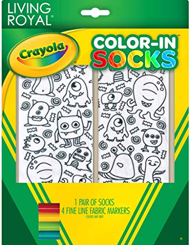 Crayola Color-In Ankle Socks by Living Royal: Monster Party, Unisex OSFM