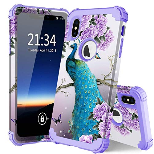 iPhone Xs Max case Peacock, PIXIU Unique Pattern Three Layer Heavy Duty Sturdy Shockproof Protective Hybrid case Cover for iPhone Xs Max 6.5 Inch 2018 Released