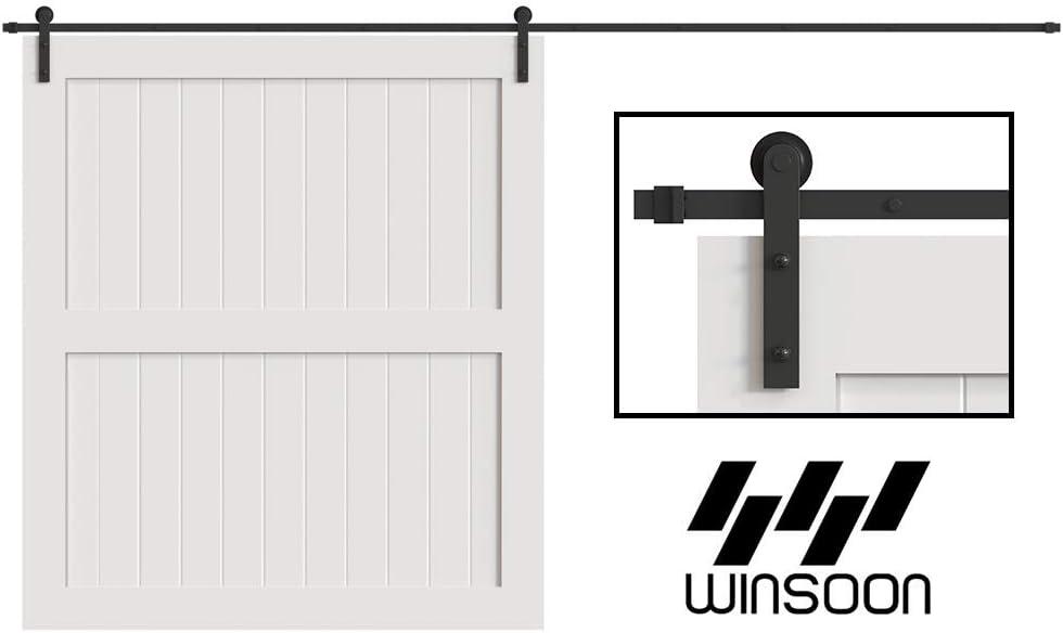 WINSOON 5/6/8/10/12/13/15/16FT Black Straight Design Sliding Roller Barn Single Wood Door Hardware Closet Track Kit Set (16FT Single Door Kit)