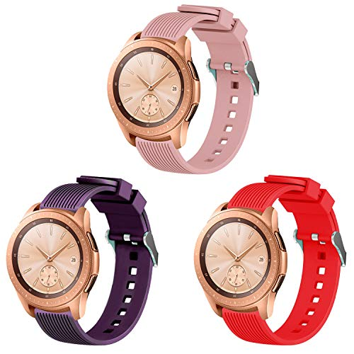 MUZZAI Compatible for Samsung Galaxy Watch 42mm 46mm Bands, 20mm, 22mm Soft Silicone Replacement Bands Compatible for Samsung Galaxy Watch 42mm 46mm, Women Men