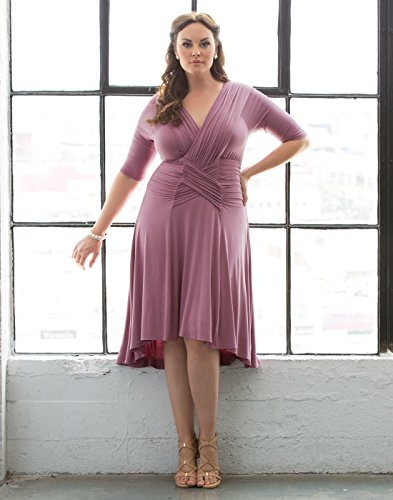 Kiyonna Women's Plus Size Refined Ruched Dress 1X Vintage Rose by Kiyonna Clothing (Image #2)