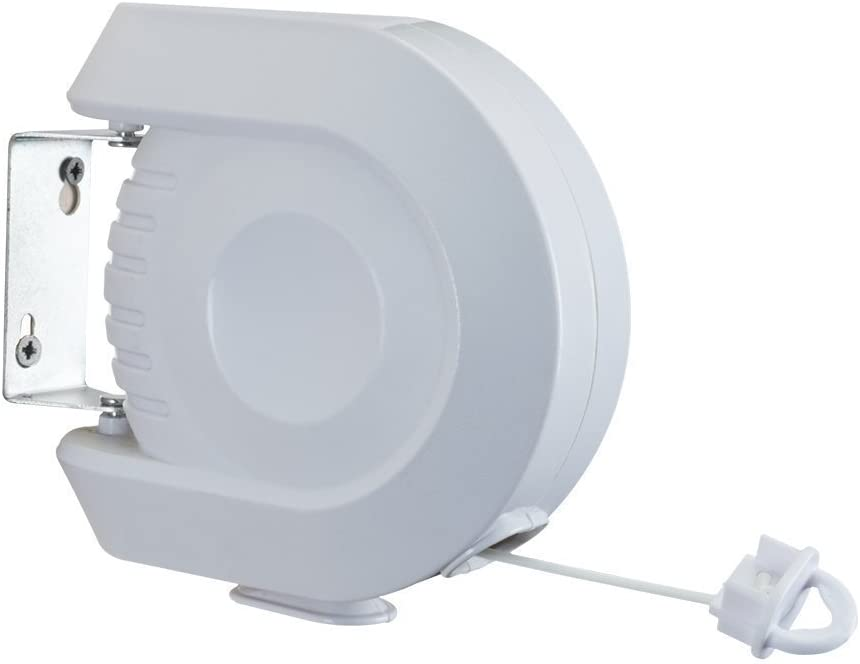 DELUXE WHITE RETRACTABLE CLOTHES WASHING LINE WALL MOUNTED OUTDOOR LAUNDRY WASH CLEAN 15m