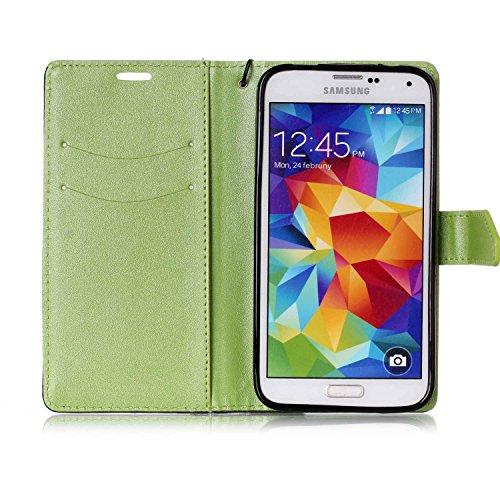 [Flip Case Cover] para Galaxy S5 /S5 Neo Carcasa Sunroyal® Samsung S5 /S5 NeoFunda Ultra Slim PU Leather Cuero Cobertura Bookstyle Wallet Cubierta Con [Función de Soporte] [Cierre Magnético] [Billeter A-06