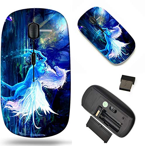 Wireless Mouse 2.4G Black Base Travel Wireless Mice with USB Receiver, Noiseless and Silent Click with 1000 DPI for Notebook pc Laptop Computer MacBook Image of Horse Unicorn Dream Water Background s