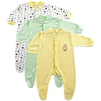 Luvable Friends 3-Pack Terry Sleep N Play (0-3 Months, Yellow)