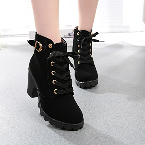 Price comparison product image Haoricu_ Hot Sales High Heel Shoes Women,  Clearance Lace Up Ankle Martin Boots Thick Ladies Zipper Buckle Platform Shoe (US:9.5,  Black)