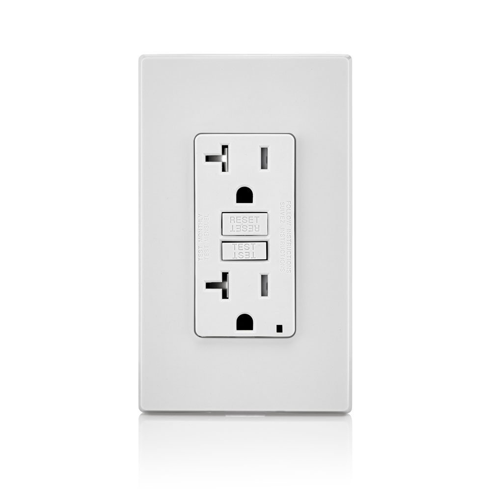Leviton GFTR2-W Smartest Self-Test Smartlockpro Slim GFCI Tamper-Resistant Receptacle with LED Indicator, 20-Amp, 10 Pack, White by Leviton