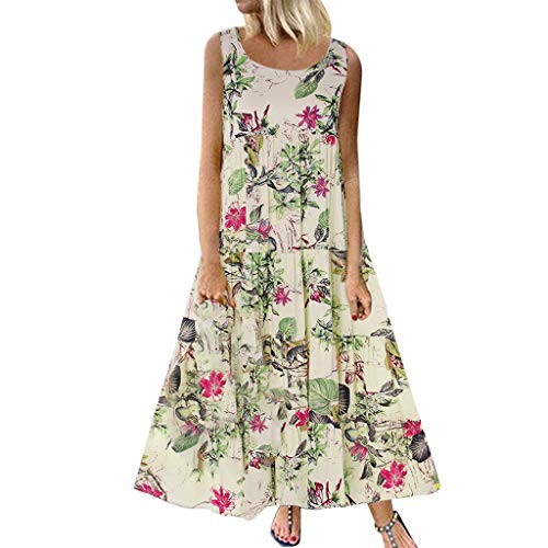 - TUSANG Women Skirt Plus Size Bohemian O-Neck Floral Print Vintage Sleeveless Long Maxi Dress Slim Fit Comfy Dress(B-White,US-14/CN-3XL)