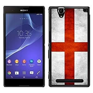 Caucho caso de Shell duro de la cubierta de accesorios de protección BY RAYDREAMMM - Sony Xperia T2 Ultra - Nacional bandera de la nación País Inglaterra