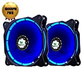 Asiahorse PWM Solar Eclipse-Ultra Quiet Bearing 120mm DC Led Fan for Computer Cases, Long Life CPU Coolers 2pack(blue)