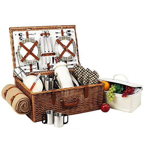 Picnic at Ascot Dorset English-Style Willow Picnic Basket with Service for 4,  Coffee Set and Blanket- Designed, Assembled & Quality Approved in the USA ()