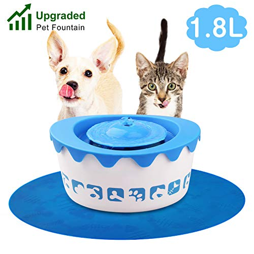 GDPETS Pet Fountain, 1.8L Quiet Automatic Electric Cats Drinking Fountain with 1 Carbon Filter and 1 Large Silicone Mat for Cats, Dogs, Small Animals