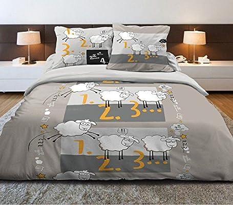 Funda nórdica de 100% algodón – sueño oveja 240 x 220 cm + 2 ...