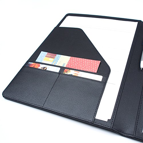 AHZOA 4 Pockets A4 Size Memo Padfolio S3 with Mechanical Pencil, Including 8.27 X 11.7 inch Legal Writing Pad, Synthetic Leather Handmade 9.84 X 12.99 inch Notepad Clipboard (Black) by AHZOA (Image #4)