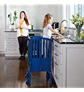 Guidecraft Contemporary Kitchen Helper Stool - Royal Navy: with 2 Keepers and Non-Slip Mat Adjust...
