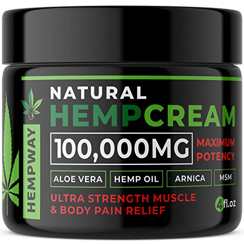 100% Natural Hemp Cream for Pain Relief - 100,000mg Arthritis Pain Relief Cream - Hemp Oil for Pain Relief & Joint Pain Relief -