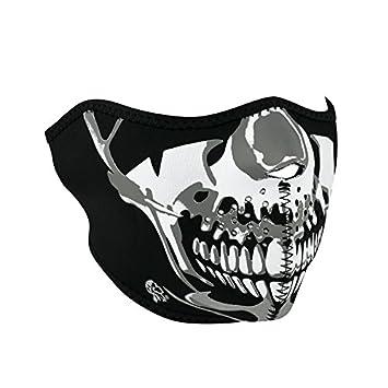 94a5596c96c Zanheadgear Neoprene Skull Half Face Mask (Chrome Black)  Amazon.co.uk  Car    Motorbike