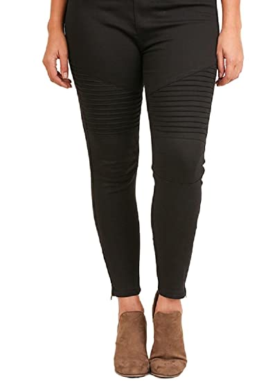 4684f33ef9a Umgee Washed Moto Jeggings with Pintuck and Zipper Detail at Amazon Women s  Clothing store