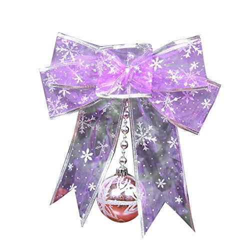 VADOLY Colorful Mesh Bow Ribbon Bell Christmas Tree Small Pendant Home Window Decoration Christmas Decorations for Home