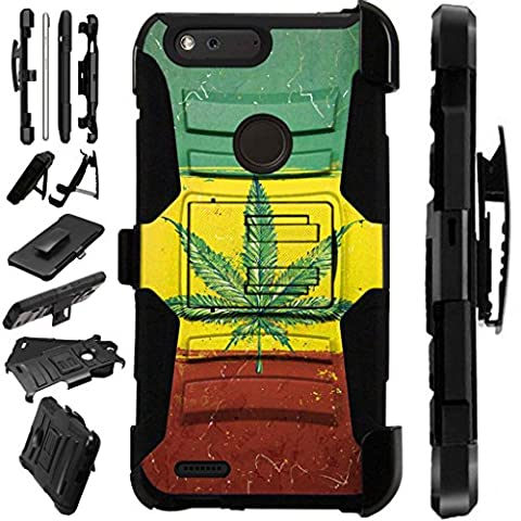 [World Acc] For ZTE Blade Z Max (MetroPCS) Case / ZTE ZMax Pro 2 / ZTE Grand X Max 4 / ZTE Sequoia Case Armor Hybrid Silicone Cover Stand LuxGuard Holster (Flag of Weed (Weed Zte Phone Cases)