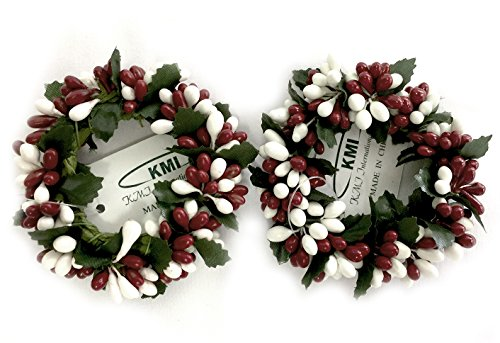 Small Red & White Rice Berry Candle Ring, Set of 2