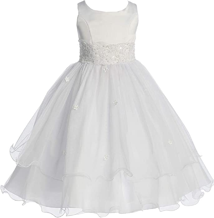 5643d3d377f Little Girls  First Communion Lace Trim Tulle Wedding Flowers Girls Dress  White Size 2 (