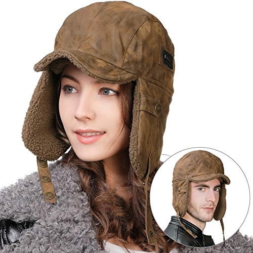Mens Aviator Pilot Hat Faux Leather Fur Trapper Ear Flaps Hunting Hat Elmer Fudd Bomber Winter Russian Ushanka Cold Weather Women Brown (Costume Fudd Elmer)