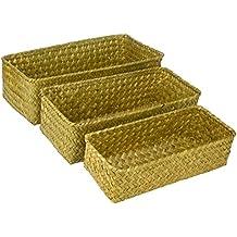 Set of 3 Rectangular Handwoven Natural Seagrass Wicker Nesting Storage Baskets and Home Organizer Bins