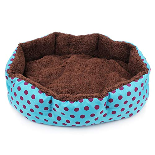 sevenTimes Hot Winter Warm Dog Bed Soft Fleece Dot Design Pet Nest with Removable Pet Mat Octagon Shape Kennel Cat Free Shopping,Blue ()
