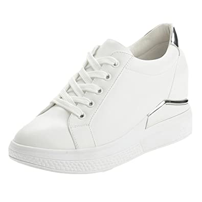 eda53b0d7dd5 Image Unavailable. Image not available for. Color  CYBLING Casual Lace-up  Sneaker Heel Increase Fashion Sport Shoes