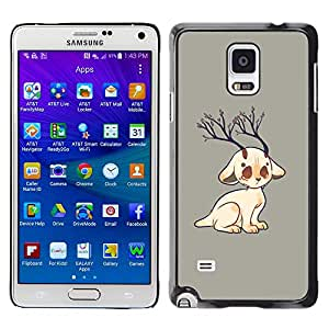 Qstar Arte & diseño plástico duro Fundas Cover Cubre Hard Case Cover para Samsung Galaxy Note 4 IV / SM-N910F / SM-N910K / SM-N910C / SM-N910W8 / SM-N910U / SM-N910G ( Cat Horns Art Drawing Nature Tree Branch)