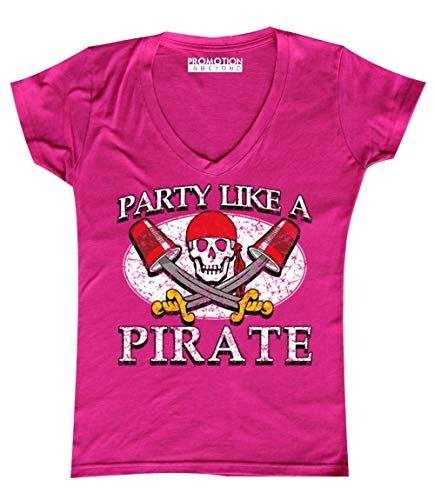 Promotion & Beyond Party Like A Pirate Funny Halloween Costume Women's V-Neck, L, Pink