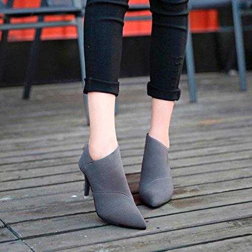 Femmes Bottes, Hatop Femmes Point Toe Bottes À Talons Hauts Automne Hiver Équipée Dames Chaussures Simples Gris