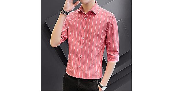 WQDS Camisa a Rayas de Cinco Puntos Camisas para Hombre ...